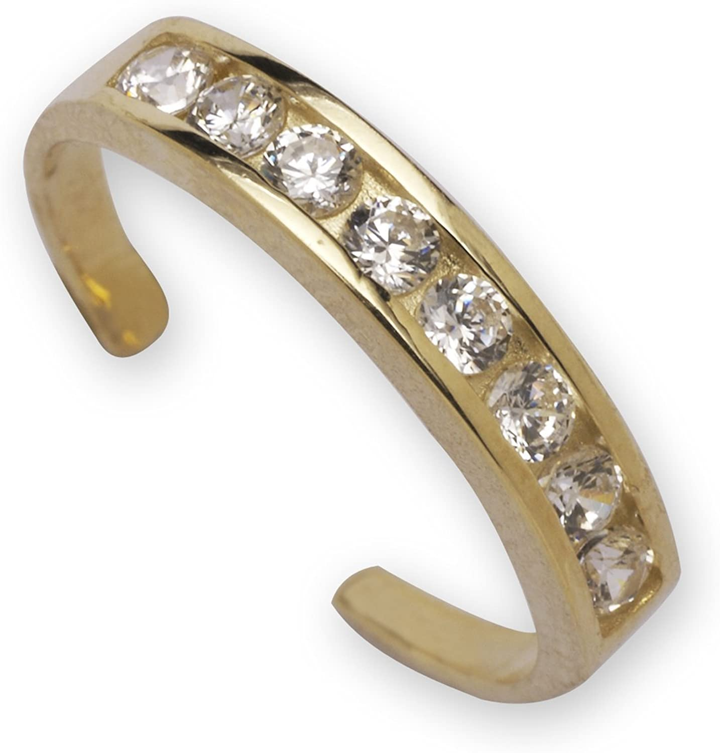 JewelryWeb Denver Mall Solid 14k Limited time cheap sale Gold Channel-Set Zirconia Adjus Round Cubic