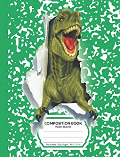 Composition Book: Green T-Rex Dinosaur Marble Pattern School Notebook | 100 Wide Ruled Blank Lined Writing Exercise Journal For Boys and Girls | Back To School Gift For Students