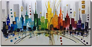 28x56 inch Extra Large Colorful City 100% Hand Painted Modern Gallery Wrapped Abstract Landscape Oil Paintings on Canvas Wall Art Ready to Hang for Hotel Restaurant Living Room Home Office Decor
