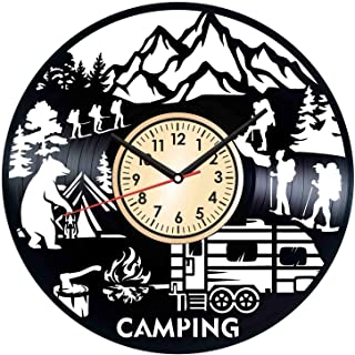 Camping Summer Camp Vintage Vinyl Wall Clock - Great Home Decor for Bedroom Kitchen Living Room Idea Birthday Christmas Anniversary for Him Her - Unique Wall Art - Size 12 Inches