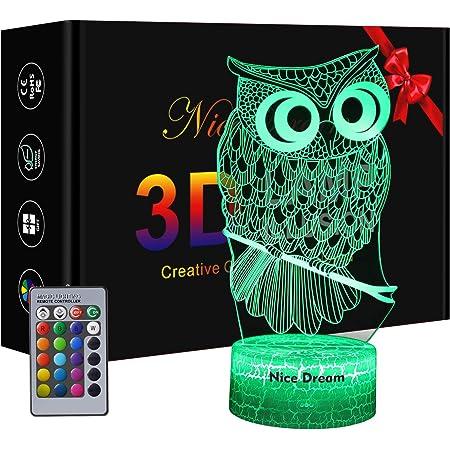 Chouette Veilleuse 3D pour Enfants, Cadeau de Hibou, Cadeaux pour Femme, lampe Hibou avec 16 Couleurs Changeantes et Télécommande, Cadeau d'anniversaire Garçon, Cadeau fille, Chambre Décor