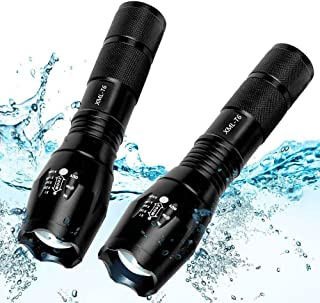 2 Pack Tactical Flashlight Torch, Military Grade 5 Modes XML T6 3000 Lumens Tactical Led Waterproof Handheld Flashlight for Camping Biking Hiking Outdoor Home Emergency