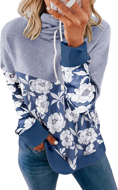 Sidefeel Women Cowl Neck Long Sleeve Drawstring Hoodie Sweatshirt with Pockets