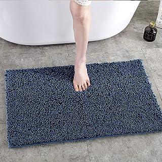 バスマット お風呂マット 速乾 抗菌 丸洗い可能 滑り止め付き 洗面所 脱衣室 玄関 キッチンなどの場所に適用 (ネイビー)