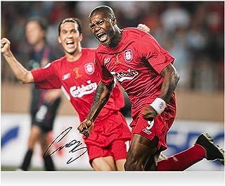 """Djibril Cisse Liverpool FC Autographed 16"""" x 12"""" UEFA Super Cup Final Goal Celebration Photograph - ICONS - Fanatics Authentic Certified"""