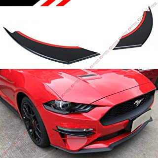 Cuztom Tuning Fits for 2018-2019 Ford Mustang GT ECOBOOST Matt Black Front Bumper Winglets Fog Light Vent Canard Strip Trim