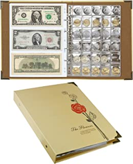 Exttlliy Coins Storage Album with 240 Pockets Paper Money and 150 Pockets Coins Large Capacity Coins Collecting Holder for...