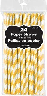 ماصات ورق أصفر من أمسكان بارتي سنتر 24 قطعة - أصفر