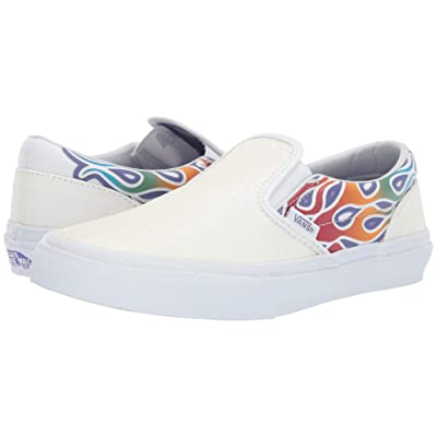Vans Kids Classic Slip-On (Little Kid/Big Kid) ((Sparkle Flame) Rainbow/True White) Girls Shoes