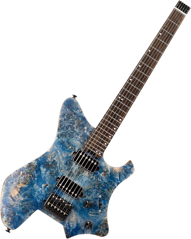EART Guitarra Eléctrica Puente Fijo sin Cabeza para Guitarra de Viaje Guitarra Pequeña Pero a Gran Escala Ultraligera para Viajes y Rendimiento Guitarra Eléctrica de Cuerpo Sólido Derecha