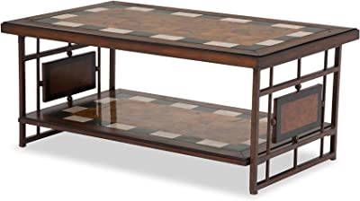 Michael Amini Sao Paulo Rect Cocktail Tbl with Stone TOpand Metal Accent Base