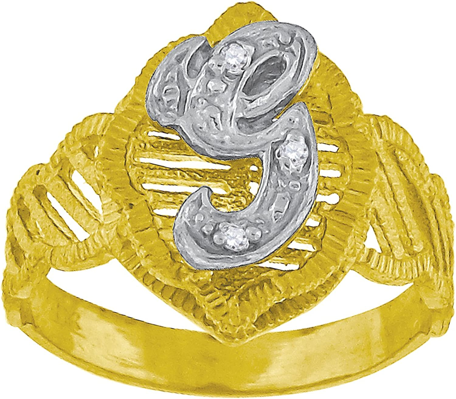 10kt TwoTone gold Womens Round Cubic Zirconia CZ Initial Letter  G  Fashion Ring