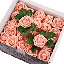Febou Artificial Flowers, 100pcs Real Touch Artificial Foam Roses Decoration DIY for Wedding Bridesmaid Bridal Bouquets Centerpieces, Party Decoration, Home Display (Concise Type, Pink)