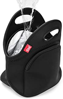 Waterproof Insulated Lunch Bag with Pocket Double Layer Black Lunch Box for Men Women Reusable Neoprene Lunch Tote Thermal Lunch Cooler Box for School Work Outdoor Travel