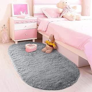 LOCHAS Ultra Soft Children Rugs Room Mat Modern Shaggy Area Rugs Home Decor 2.6' X 5.3', Gray