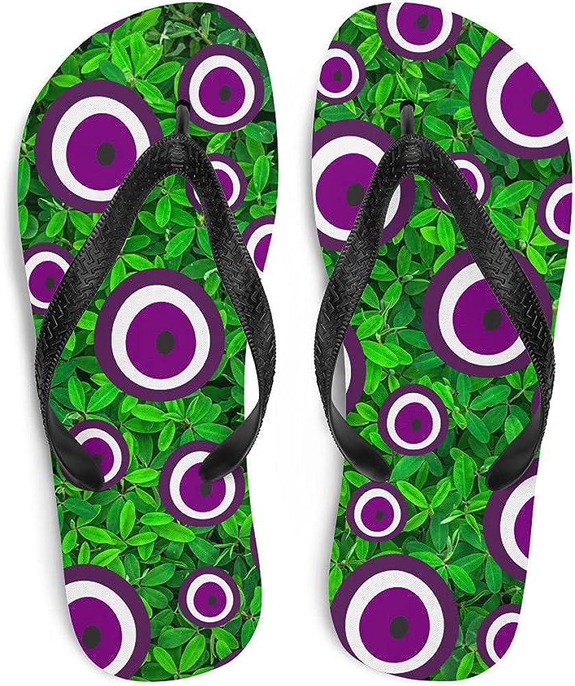 Evil Eye Flip-Flops Purple (Boost Imagination, Rebalance Life, Remove Obstacles) - Leaves (See Description for Size Chart)