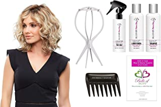 Julianne Synthetic Single Mono HandTied Wig by Jon Renau,Stand,Comb,Mara Ray 4oz Luxury Detangler/Shamp/Cond,19 Page Belle of Hope Wig Care Booklet-Bundle 7pc (14/26S10)