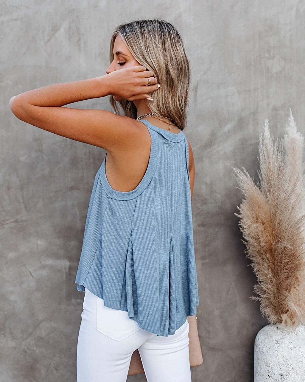 CHYRII Women's Casual Halter V Neck Asymmestric Tank Tops Summer Sleeveless Cami Shirts