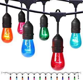 Outdoor String Lights with Colored Bulbs, 24ft Patio Lights, 12 Sockets and 15 Multicolor S14 lightbulbs, Waterproof and Connectable, Ideal décor lights for Christmas Wedding Party Deck Cafe Camping
