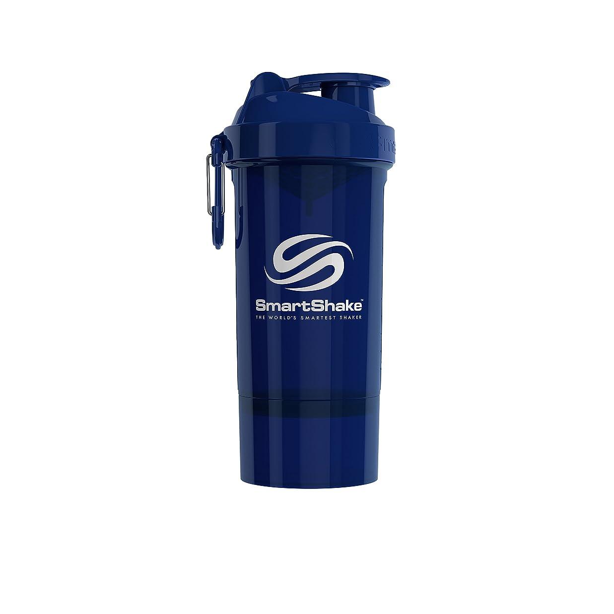 予見する買い手判定SmartShake(スマートシェイク) SmartShake ORIGINAL2GO ONE 800ml Navy Blue 多機能プロテインシェイカー ネイビーブルー 800ml大容量 コンテナ1段タイプ