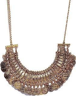 Ethnic Fashion Handmade Statement African Indian Turkish Tribal Oxidized Collar Gold Polish Coins Collar Chunky Choker Necklace
