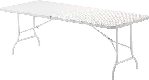Color Blanco Fanny Rectangular Mesa Plegable Multifuncional 180 x 74 x 74 cm