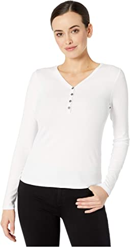 Three Dots Womens Viscose Rib Tight Long Shirt