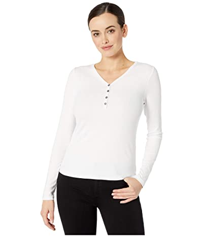 Three Dots Viscose Rib Long Sleeve Henley (White) Women