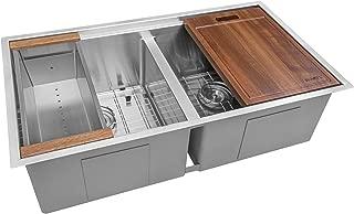 Ruvati 33-inch Workstation Ledge Tight Radius 50/50 Double Bowl Undermount Kitchen Sink - RVH8351