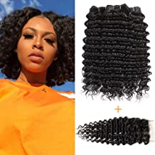 Pofei 9a Grade Brazilian Deep Curly Bundles With Lace Closure 12 12 12 +10 Deep Wave Hair Bundles With Free Part 150% Density Swiss Lace Closure 100 Real Human Hair 3 Bundles Deep Wave With Closure