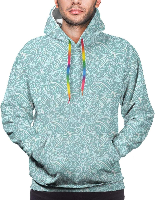 Men's Hoodies Sweatshirts,Ocean Waves Inspired Artwork in Japanese Style Illustration Oriental Curvy Cultural