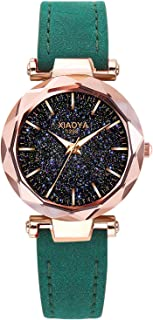 Dyshuai Women Leather Wrist Watch Easy Reader Quartz Digital Starry Sky Watch