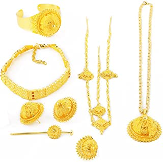 24K Gold Plated Traditional Ethiopian Big Complete Luxury Women Wedding Jewelry Sets