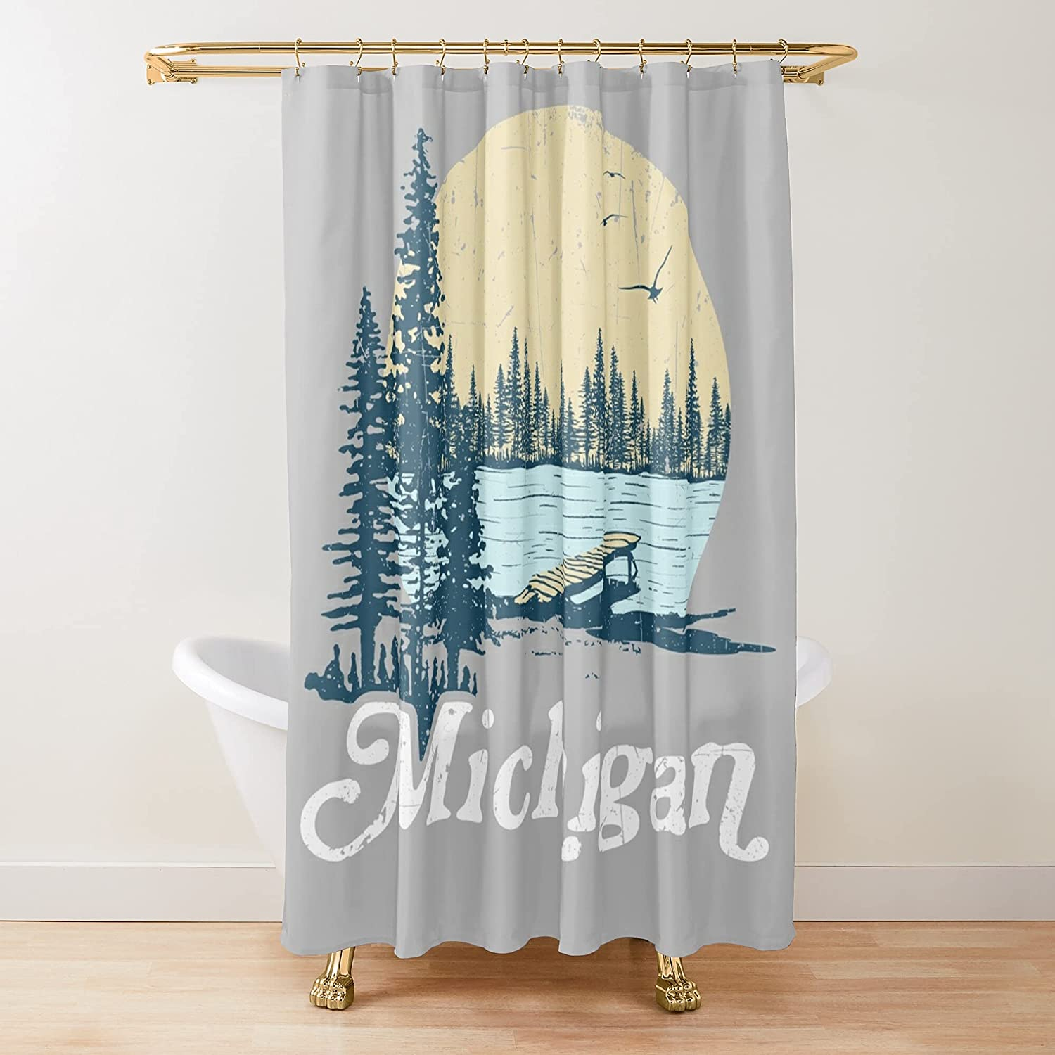 Vintage Max 42% OFF Michigan Dock On A Lake Fabric Shower Sacramento Mall Curtains Printed
