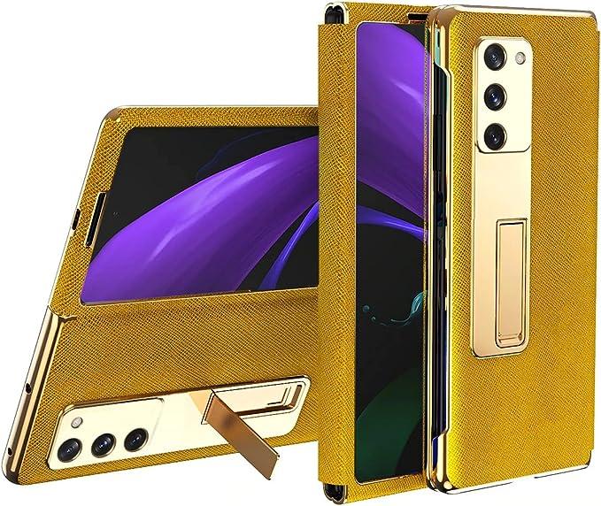FUTURECASE Samsung Galaxy z Fold 3 Case, Leather Flip Case for Samsung Z Fold 3, Kickstand Shockproof Full Protection Z Fold 3 5G Funda Cover(Gold)