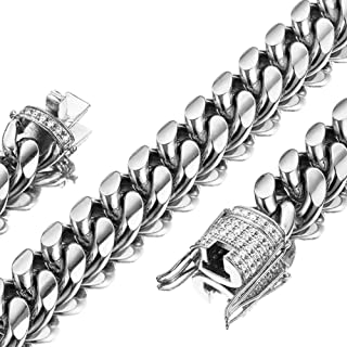 Mens Miami Cuban Link Chain White 15mm Stainless Steel Curb Necklace with cz Diamond Chain Choker