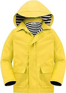 Girls' Outdoor Floral Fleece Lined Windproof Jacket with Hood Waterproof Raincoat
