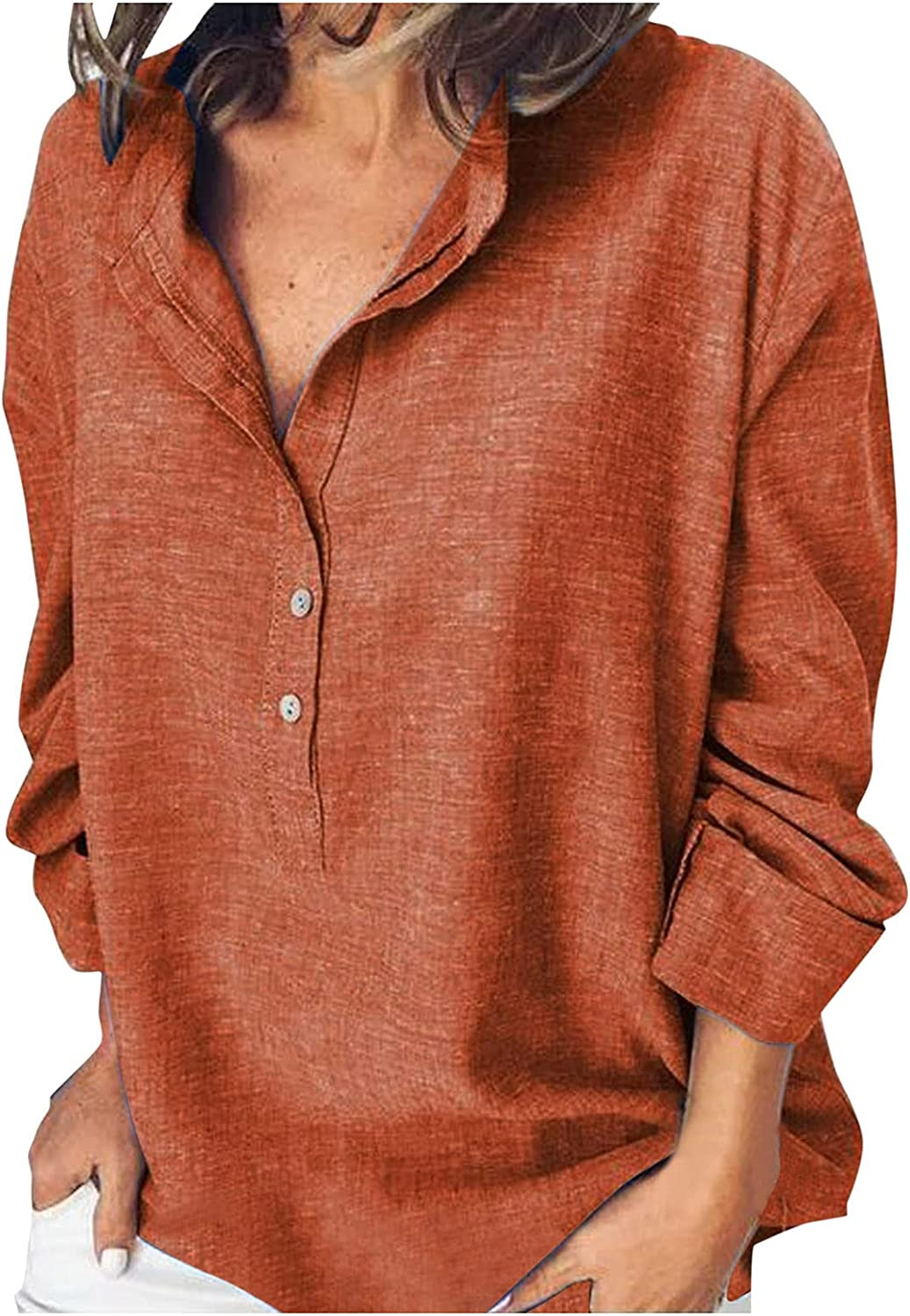 JSPOYOU Women Henley Shirts V Neck Long Sleeve Button Down Ribbed Knit Tunic Tops Casual Loose Tunic Tee