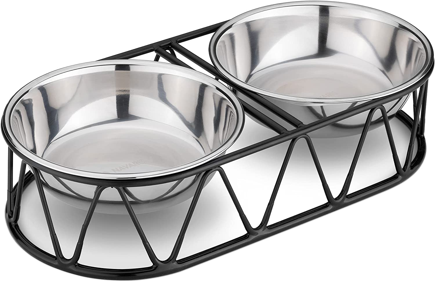 Navaris Stainless Steel Dog Bowls - Cat Food Bowls with Stand - Elevated Double Bowl and Holder for Cats & Small Dogs Raised Metal Wire Stand - Black