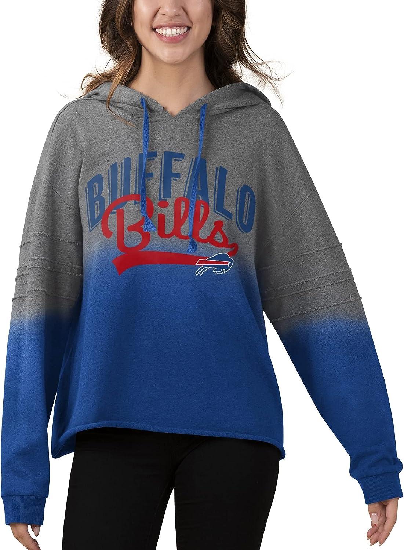 Touch Women's Heathered Gray/Royal Buffalo Bills Superstar Dip-Dye Crop Pullover Hoodie