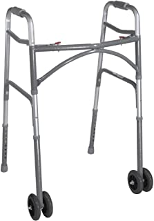 Drive Medical Heavy Duty Bariatric Two Button Walker with Wheels, Silver