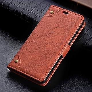 OPPOケース OPPO R17 Pro用銅バックルレトロクレイジーホースのテクスチャホルダー&カードスロット&財布と横フリップレザーケース OPPOケース (色 : Brown)
