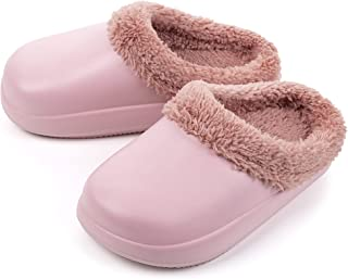 Sponsored Ad - FITORY Girls Fur Lined Clogs, Waterproof Slippers Slip-on Garden Shoes for Todders/Little Kid