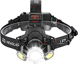 Consciot Headlamp, USB Rechargeable Headlight 1000lm Bright T6 LED Zoomable Flashlight with 4 Modes, Wide Beam Angle Water...