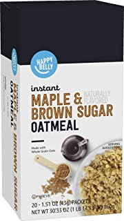 Amazon Brand - Happy Belly Instant Oatmeal, Maple and Brown Sugar, 20 Packets