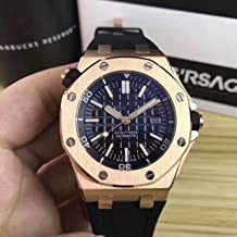 Luxury Brand Stainless Steel Gold Color case Black dial Automatic Movement Rubber Strap Diver's Oak Watch