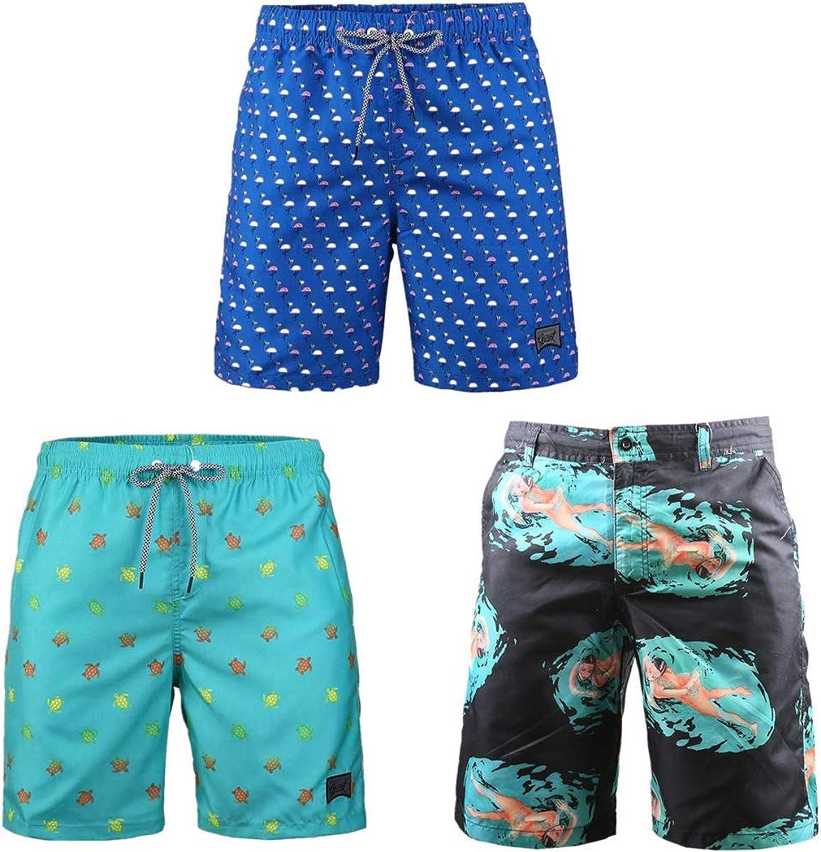Beautiful Giant 3-Pack Men's Board Shorts Elastic Waist Summer Hawaiian Surfing Loose Breathable Swimwear