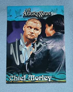 Val Venis Signed 2003 Fleer Aggression WWE Card #6 Chief Sean Morley Autograph - Autographed Wrestling Cards