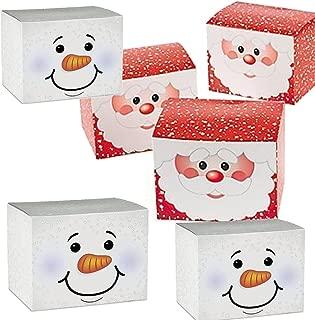 24 Christmas Holiday Cardboard Gift Boxes - 12 Snowman Gift Boxes, 12 Santa Gift Gift Boxes