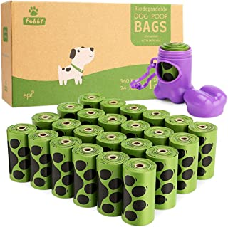 PobbY Dog Poop Bags Biodegradable Unscented, 9x13 Inches Refill Rolls (24 Rolls / 360 Count) Includes Blue or Purple Dispenser